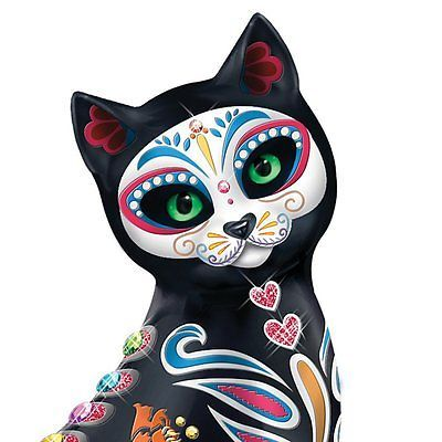 Cat Statue Sugar Skull Mexican Folk Art Kitty Day Of The Dead Figurine Decor New