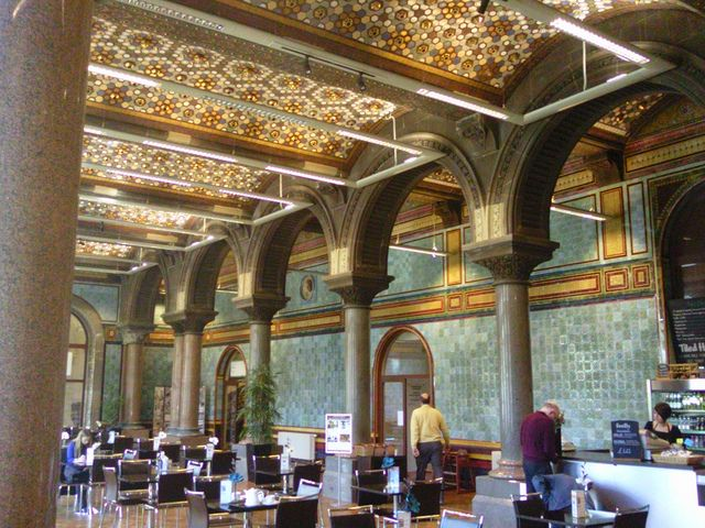 Tiled Hall Cafe at Leeds Art Gallery. Tips for things to do in Leeds: http://www.europealacarte.co.uk/blog/2011/10/30/what-to-do-leeds/