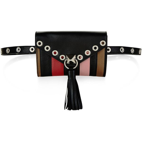 Sonia Rykiel Multi Leather Panel Belt Bag ($500) ❤ liked on Polyvore featuring accessories, belts, leather bum bag, leather flap bag, fanny bag, leather belt bag and bum bags