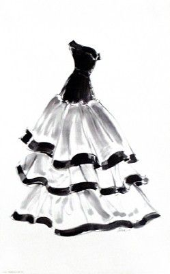 """Paper: 16 x 10 Image: 16 x 10 Art print poster of a glamorous evening gown with ruffles by acclaimed fashion painter and illustrator """"Tina""""."""