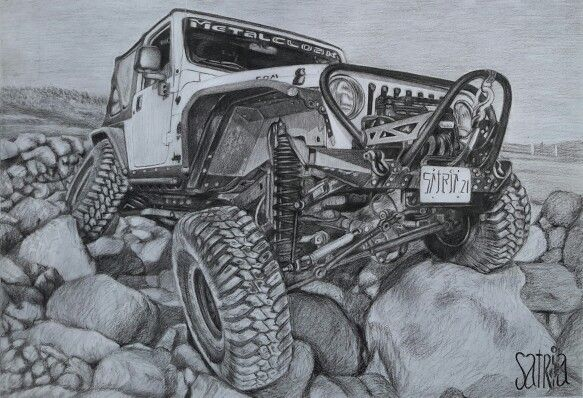 Jeep Drawing pencil Pencil on paper