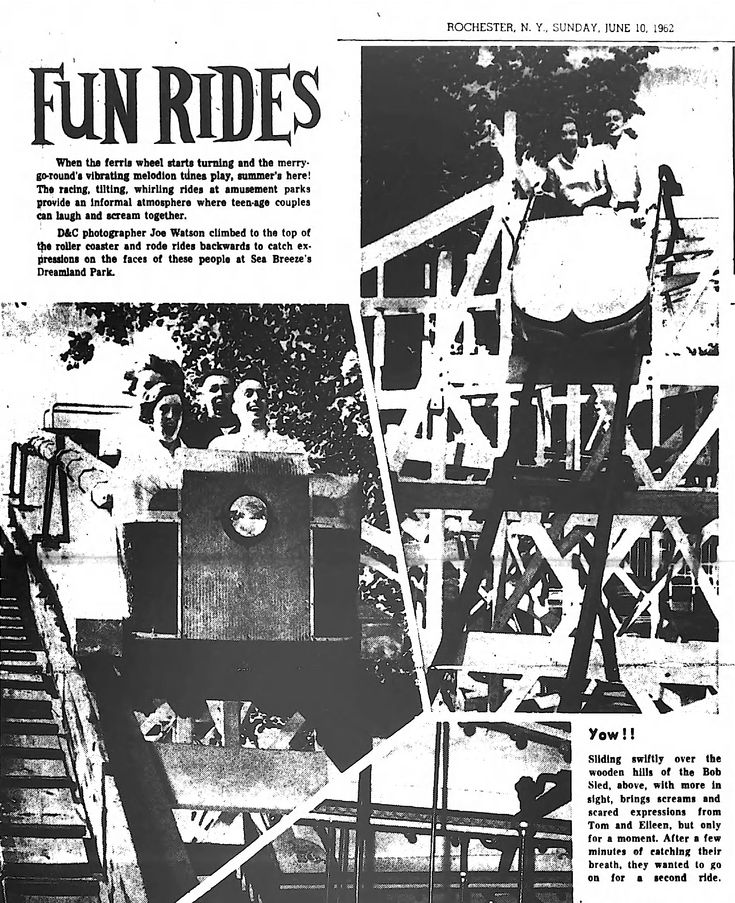 1962 ROCHESTER NY teenagers at Sea Breeze Amusement's Dreamland Park. Sliding swiftly over wooden hills of the Bob Sled brings screams & scared expressions from Tom & Eileen. After a few minutes of catching their breath, they wanted to go on for a second ride. Next it's the granddaddy coaster & the direction, you can tell by their faces, is down- hill at moment for Eileen Barrett of Webster & Tom McMahon of Antlers Drive, front; Linda Fisher of Raebum Avenue, George Lambert of Aldine Street.
