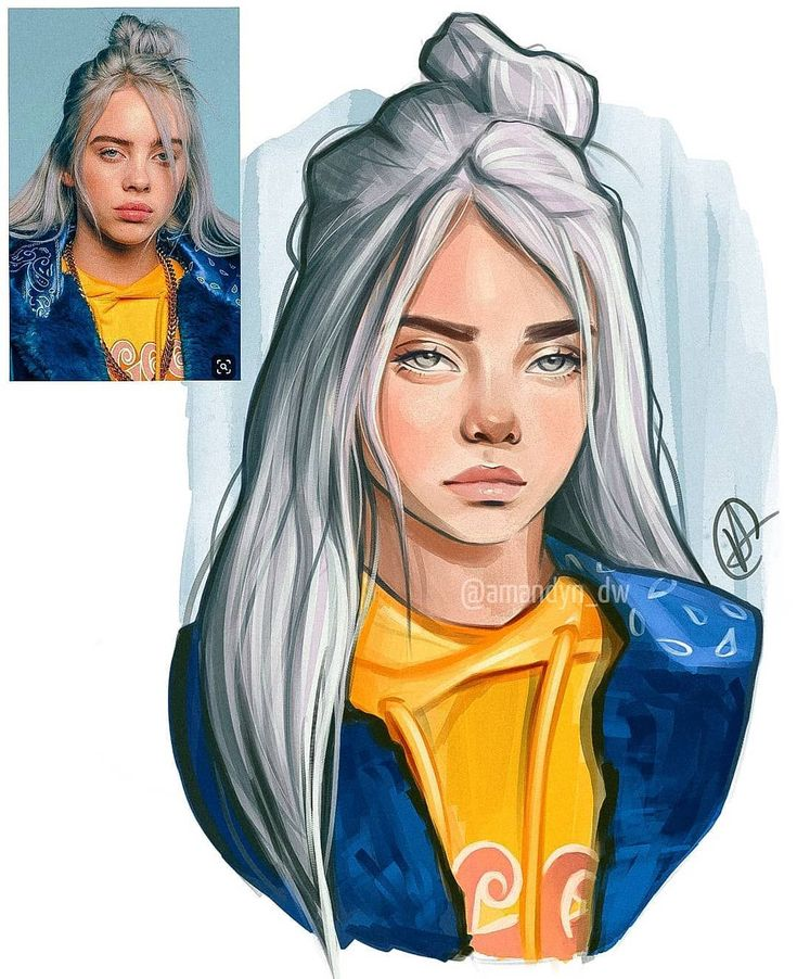 """amandyn on instagram """"🇨🇵 my portrait of billie eilish"""