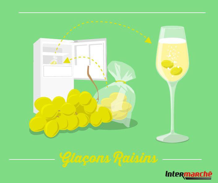 Pour ne jamais être à cours de glaçons pendant votre soirée, suivez notre astuce gourmande : 1) Congelez des grains de raisin, 2) Plongez-les dans vos coupes de champagne : ils feront office de glaçons comestibles !
