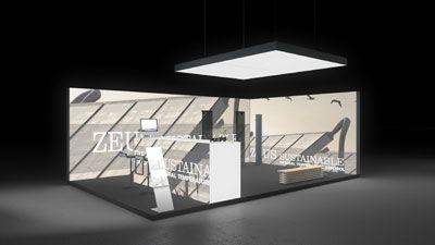 444 Heizungsanlagen Zeus Sustainable | Attraktiver Messestand für einen Hersteller von Heizungsanlagen.   Die rahmenlos bedruckten Leuchtwände mit Solarpanel Motiven in Sepiafarben bieten...