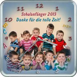 Abschiedsgeschenk für Erzieher , Lehrer oder Hort - Hochwertige eckige Fotouhr mit Alurahmen und geräuscharmen Uhrwerk