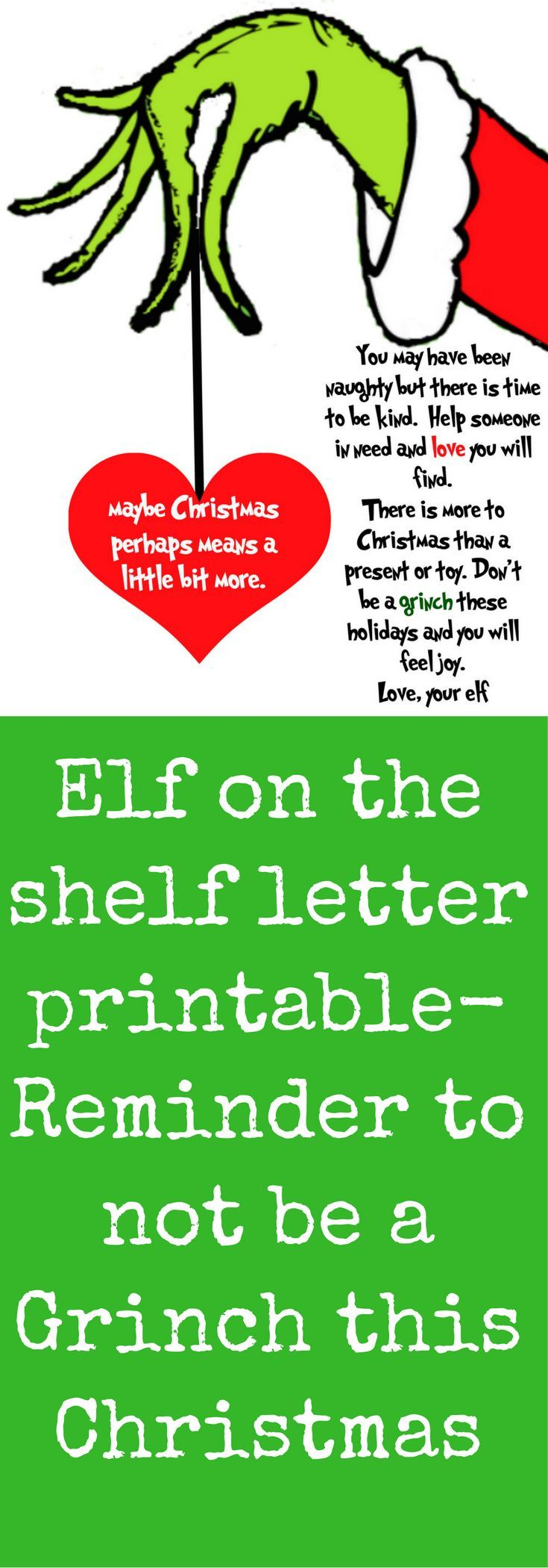 Naughty list Letter from your Elf on the Shelf reminding your kids to be kind and feel joy. #ElfontheShelf #elfontheshelfprintable Elf on the Shelf Free Printable Don't be a Grinch