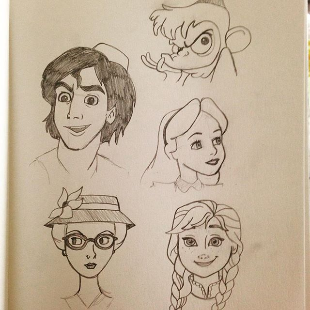 I made a list of Disney characters and I'm going to draw them alphabetically! #1-5, Abu, Aladdin, Alice, Anita, & Anna. Follow on instagram @marsala394 #disney #art -All Things Disney
