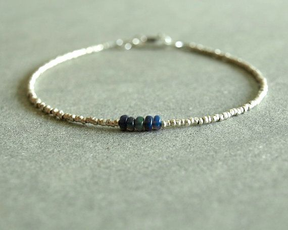 Blue Opal Bracelet smooth genuine Ethiopian by bluegreenjewels