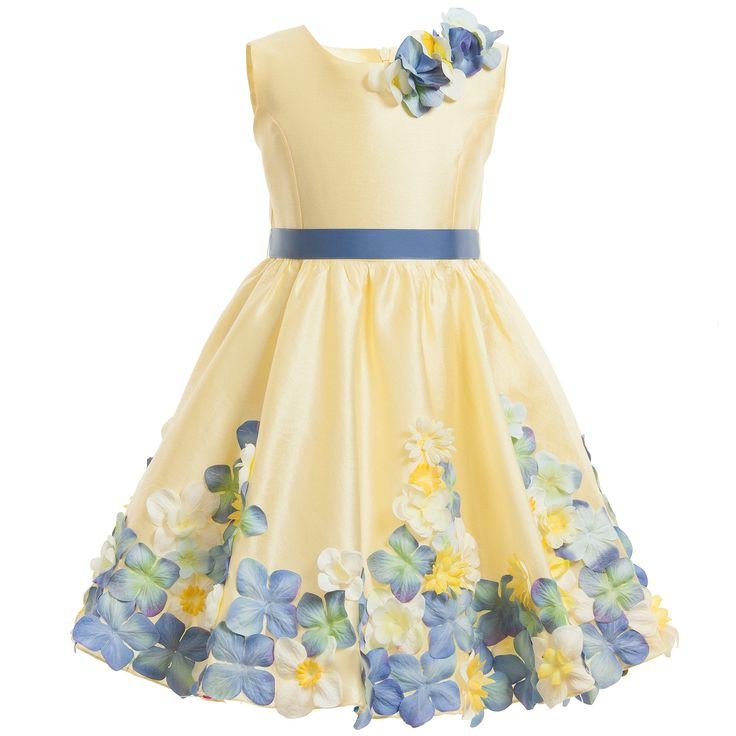 Lesy Luxury Flower - Yellow Floral Dress with Belt | Childrensalon