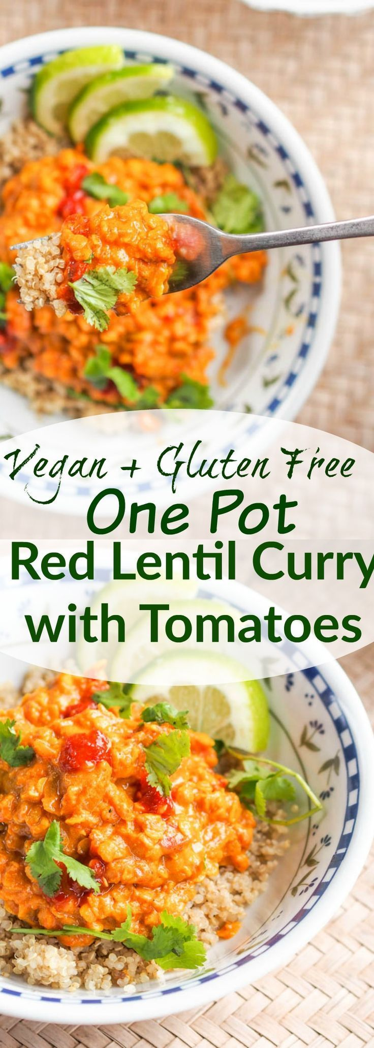 Vegan lentil curry with tomatoes makes for the perfect meatless one pot dinner ready in 30 minutes. Requiring only kitchen staples, a few spices and the star ingredients – red lentils, coconut milk and canned tomatoes. This is a dish you'll be making over and over again. Gluten-Free too.