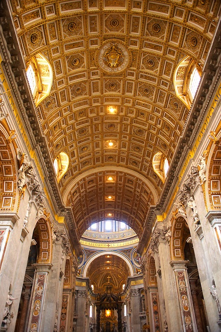 Interior roof of St Peters Cathedral, The Vatican. Rome