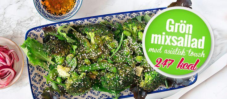 247 kcal - Grön Mixsallad med Asiatisk Dressing 5 2 dieten recept sallad. Gröna grönsaker är bland det allra mest hälsosamma man kan äta.