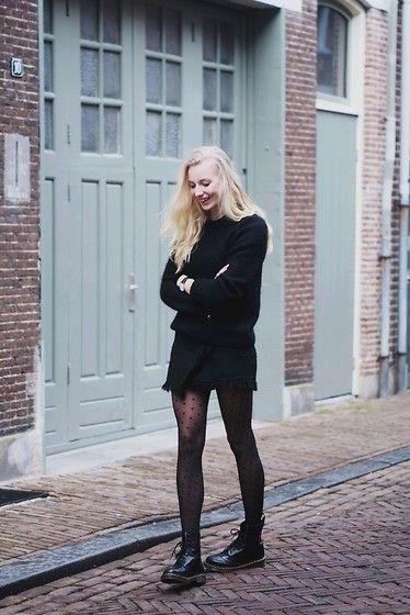& Other Stories Knit, Zara Skirt, Dr. Martens Boots
