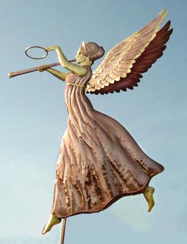 Angel Weathervane Triumphant  by West Coast Weather Vanes.  This design was inspired by a late 19th century, very famous gilded and molded copper weathervane of the Angel Gabriel.  Our version was adapted by our hand crafted weather vane makers.