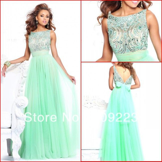 Emerald green long evening dresses