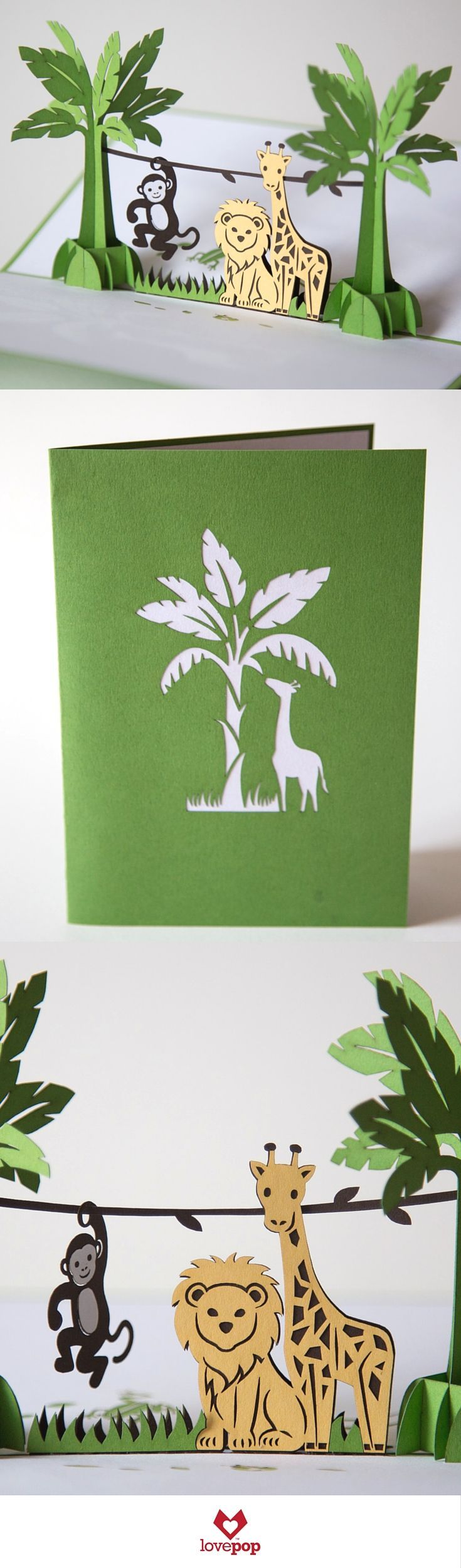 Light up the party with this cute set of paper art safari animals! Perfect as a birthday pop up card for a kid or as an invite to a baby shower.