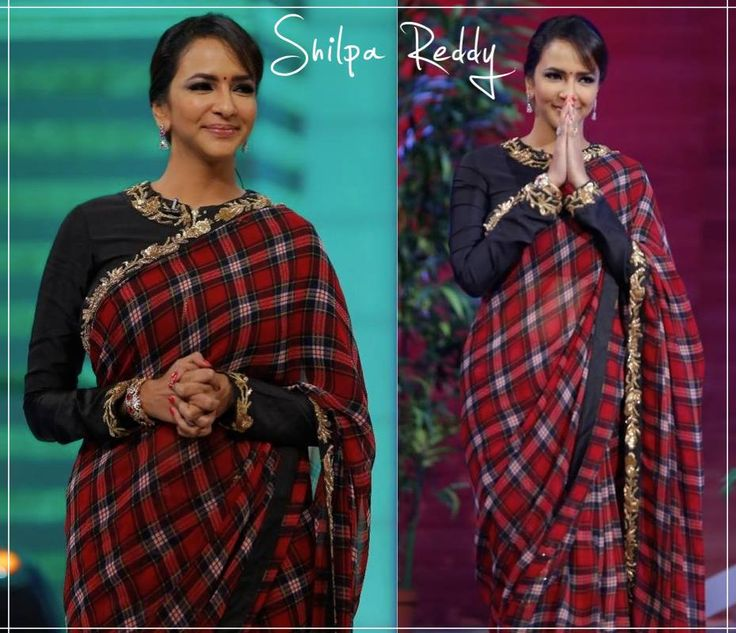 Beautiful Lakshmi Manchu wore an unconventional checks Saree with black blouse with gold hand embroidery by Shilpa Reddy Studio for her show Memu Saitham #lakshmimanchu #shilpareddystudio #designersaree #memusaitham — with Lakshmi Manchu.