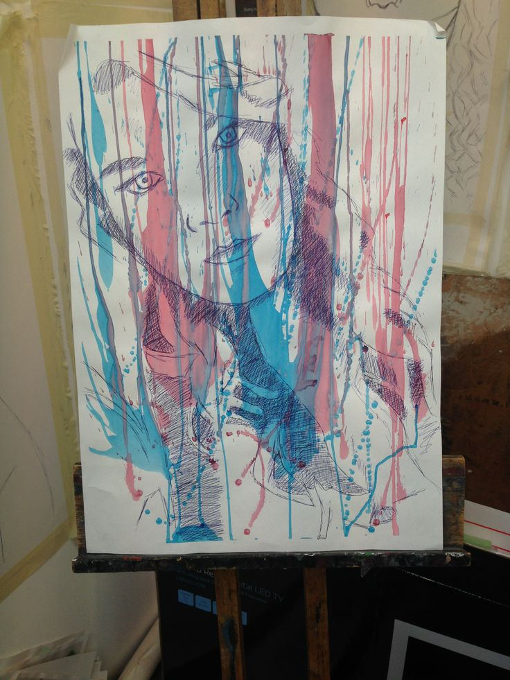 Self-Portrait Blue biro on Cartridge Paper with Acrylic Paint - Chelsie Cater-Tooby