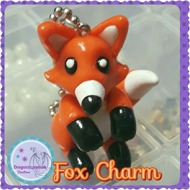 fox charm made from polymer clay www.facebook.com/dragonmummah