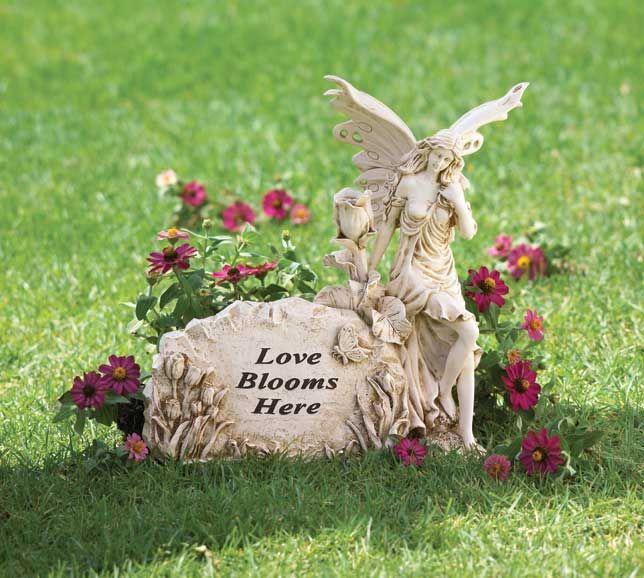 Garden Fairy Figurines   Love Blooms Here Fairy Garden Statue