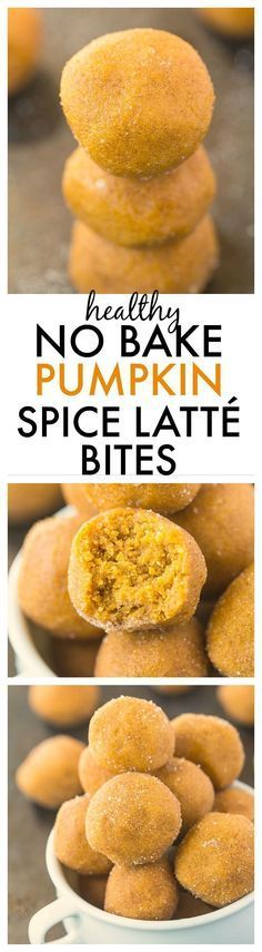 Healthy No Bake Pumpkin Spice Latte Bites- Delicious, healthy bites which taste JUST like a Pumpkin Spice Cake without the need for baking! Quick, easy and a delicious snack! {vegan, gluten free, dairy free, paleo}
