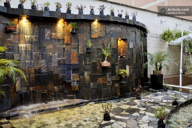 Indoor waterfall in a Medellin, Colombia courtyard.