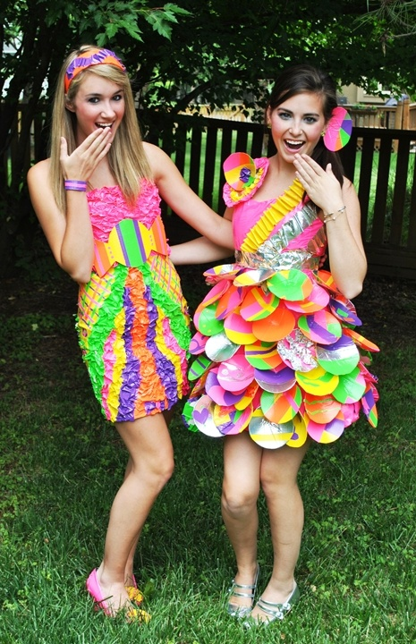 make a dress out of duck tape.  love the one on the right with all the circles in the skirt too cute