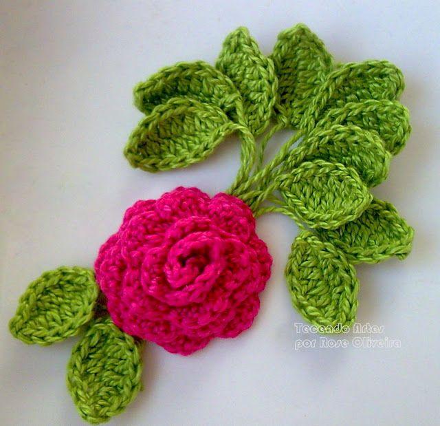 Crochet rose and leaves - tutorial. I used Google ...