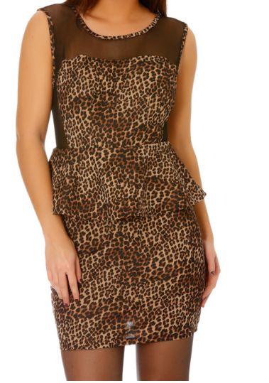 Robe de soirée imprimé léopard & dentelle - bestyle29.com