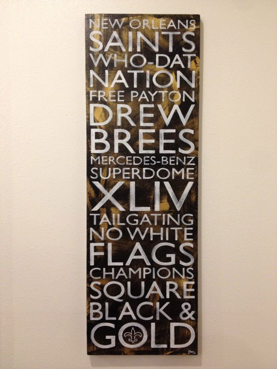 Black & Gold New Orleans Saints by NoPlaceLikeNOLA on Etsy, $65.00, I need for Christmas. Husband!!! :)