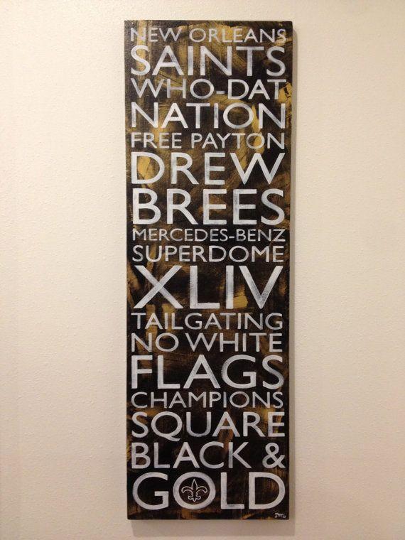 Black & Gold New Orleans Saints by NoPlaceLikeNOLA on Etsy, $65.00