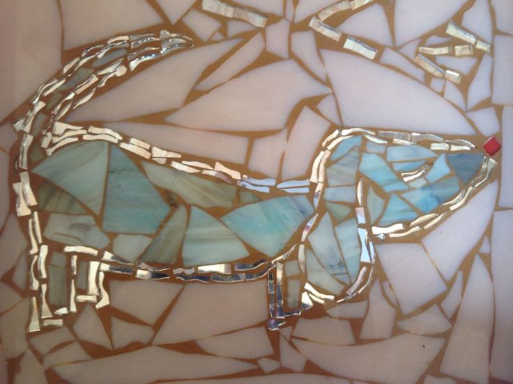 mosaiced table top using stained glass - daschund design