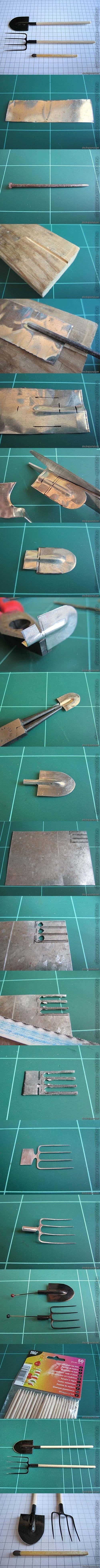 Herramientas de jardín en miniatura: pala y horquilla - Miniature garden tools: spade and fork