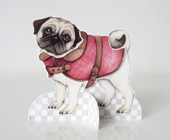 Pug paper doll with clothes instant download by JustLikePictures