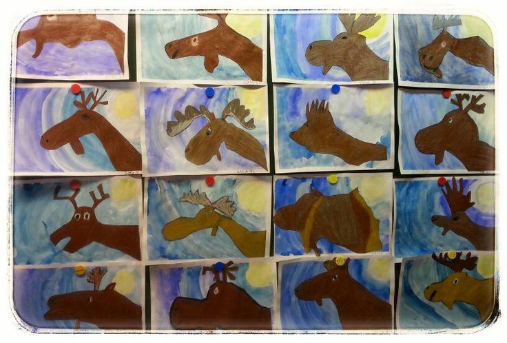 Hirvi  Tausta vesiväreillä. Hirvi piirretty harmaalle paperille ja sitten väritetty ruskealla. 2.lk AHP