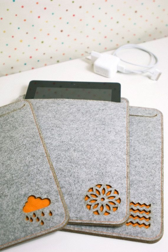 thick felt iPad case in light grey OR petrol blue OR by PinkNounou, €32.00