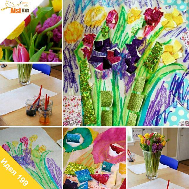 AistBox: 270 идей лета: цветочная аппликация  Предлагаем вам и вашим малышам отправится на прогулку и собрать яркий букет летних цветов, он украсит дом и понадобится нам для одной интересной активности;) Давайте совместим любимые творческие техники для создания удивительной композиции.