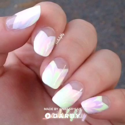 Nail manicure using water marbling method #darbysmart #beautytips #beautyhacks #…