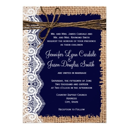 Rustic Country Burlap Lace Twine Wedding Invites, just change it to green Jessica I love it!