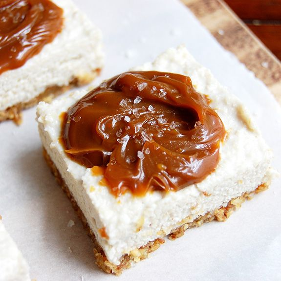 """Salted Caramel """"Cheesecake"""" Bars- this is perhaps my favorite dessert of all-time! These cheesecake bars are so good."""