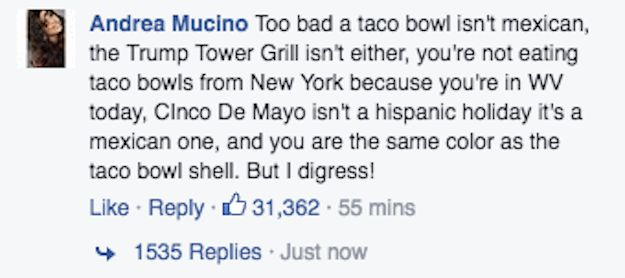 But one comment in particular is really resonating with a lot of people (more than 60,000 to be exact). | People Are Obsessed With This Woman's Response To Donald Trump's Taco Bowl Pic