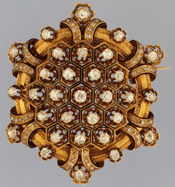 Attributed to Maison Rouvenat of Paris. Brooch, ca. 1867. Gold, enamel, diamonds. The Metropolitan Museum of Art, New York. Bequest of Xenophon Leonidas Mavroidi, 1946 (47.99).