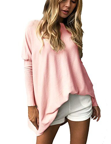 CoCo Fashion Women's O-Neck Batwing Blouse Long Sleeve Pullover Tops Oversized Casual T-Shirt at Amazon Women's Clothing store: