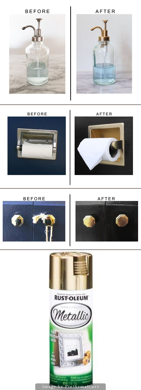Designer updated bathroom accessories using  Rust-Oleum 11-oz Metallic Gold Spray Paint for a soft brass rather than bright shiny brass.