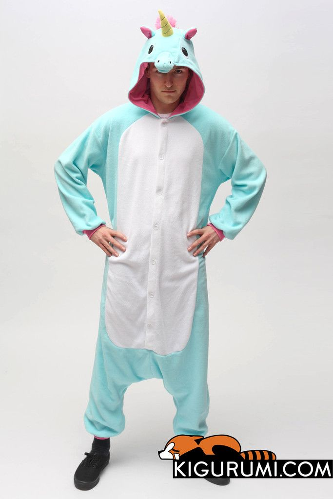 X Tall Blue Unicorn Onesie Kigurumi Animal Costume Adult Fleece Pajamas