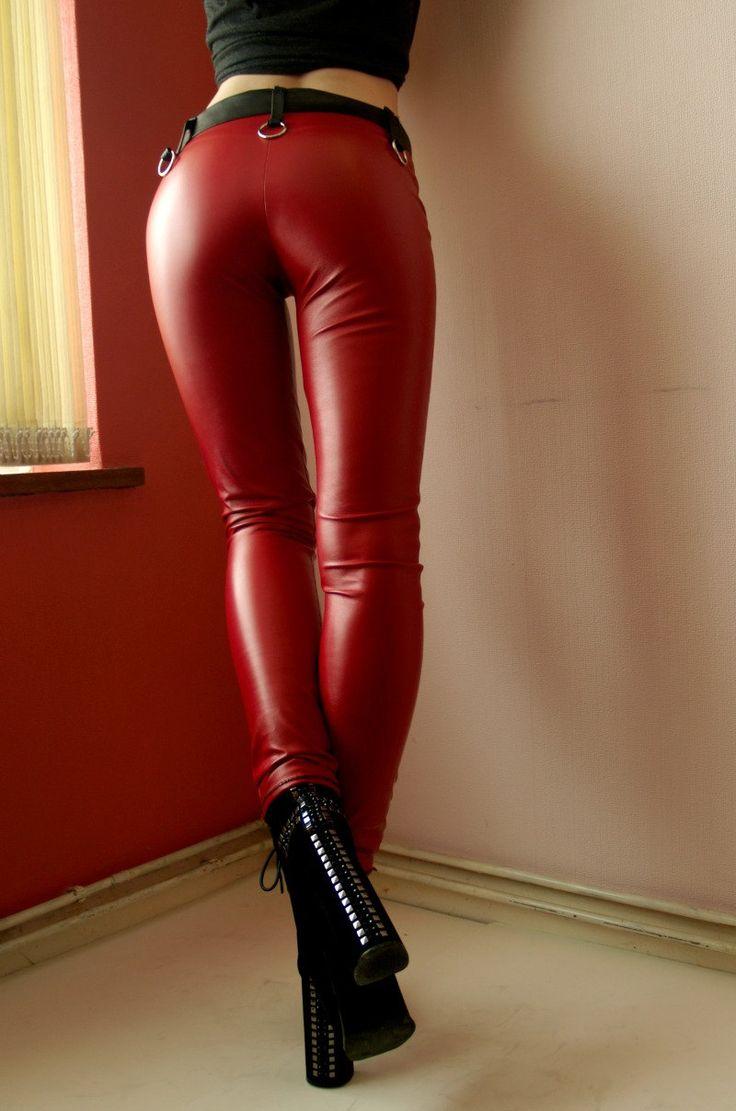 image Red metallic spandex wetlook zentai cat suit 1