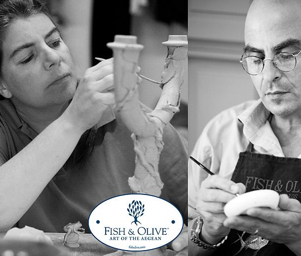 www.fisholive.com    The art potter Katharina Bolesch and the jewellery designer and craftsman Alexander Reichardt live and work in the village of Halki on the Cycladean island of Naxos, where their workshop, gallery and boutique, operate under the international name, Fish & Olive - Art of the Aegean.