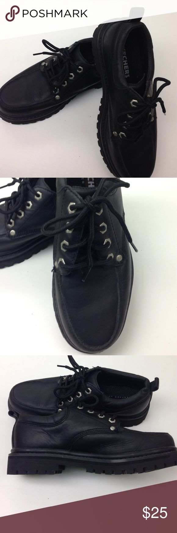 Skechers Leather Upper Black Shoes Skechers black leather upper shoes. These shoes similar to a boot and are heavy like a boot. Lace ups. Size 7.5 Worn once! In excellent condition. Skechers Shoes