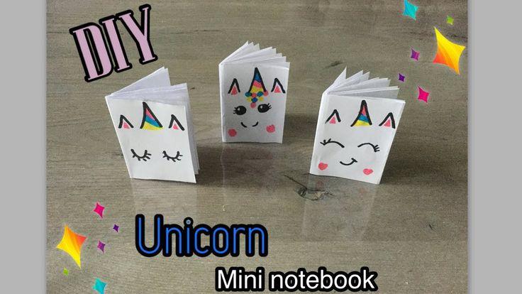 DIY eenvoudige UNICORN / EENHOORN MINI NOTEBOOK knutselen van 1 papier. Easy craft ideas for kids
